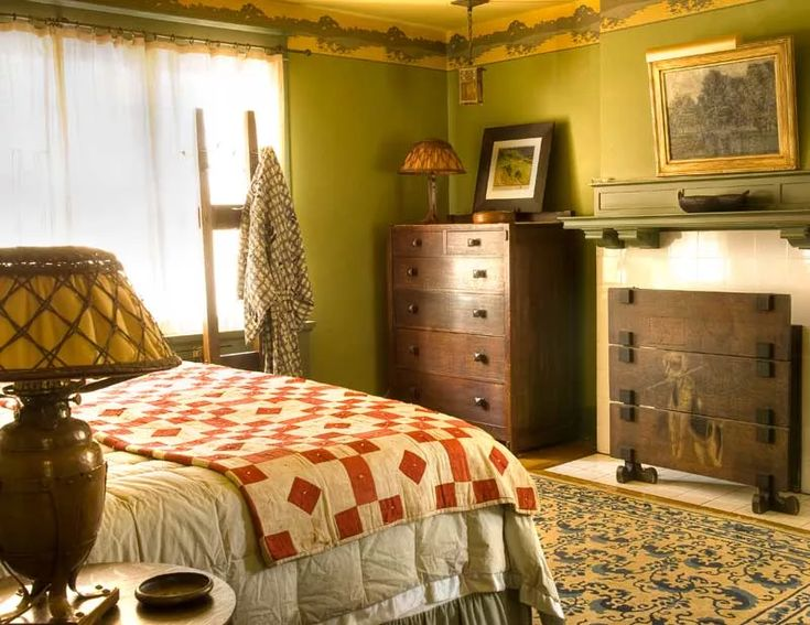 Walls in a period green complement antique Stickley furniture. Photo: Ed Addeo