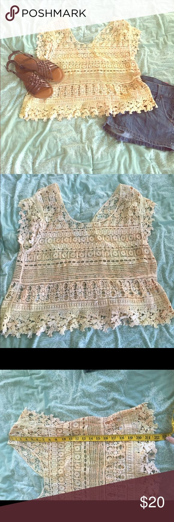 Ecote crochet top Beautiful crochet top. Ecote brand from UO. Size medium. Very pretty cream pinkish color. About 22 in long. Urban Outfitters Tops