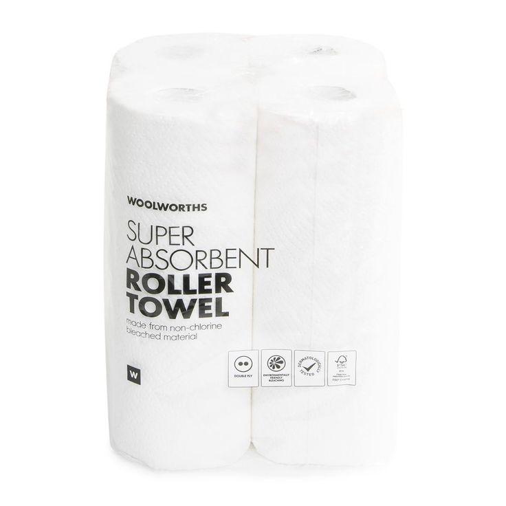 Bulk Double Ply Super Absorbent Roller Towel 4Pk