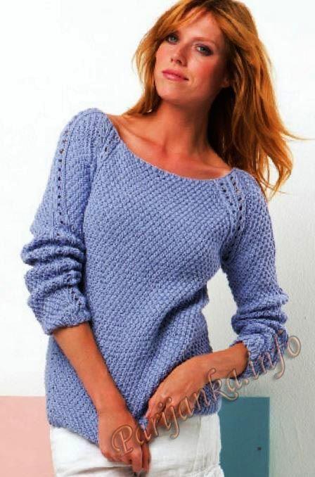 Пуловер с регланом: нитки PRESTO ( 50 % хлопок, 50 % акрил) (50 г. / 65 м.) 700/750/800/850 г. = 14/15/16/17 клубков светло-голубого цвета