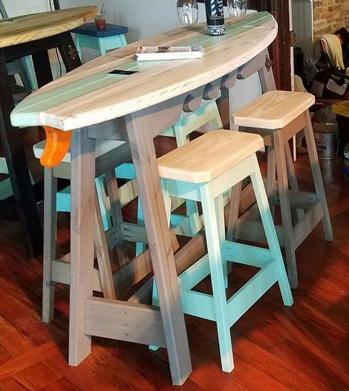Surfboard Bar - 6ft- Whitewash Top Sea Foam Stripe - 4 Stools | Surfboard Tables, State Tables, Bottle Openers, More!