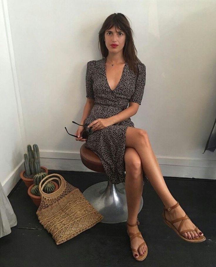 basket bag, printed dress, brown leather sandals SS
