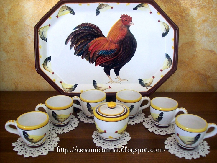 Set of 6 coffee cups hand-painted, #rooster #ceramic #Italy http://ceramicamia.blogspot.it/2011/04/caffe-in-una-tazza-di-ceramica-dipinta.html