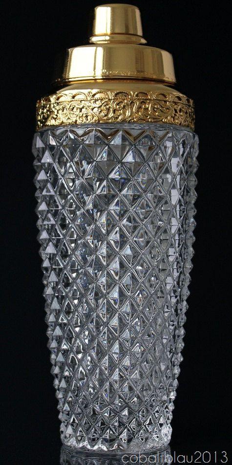 Cocktail Shaker / Crystal glass / Gold top / Vintage barware / Bar cart / Hollywood regency