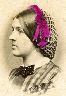 Close up of Civil War era hair net, heavy weave.....The Barrington House Educational Center, L.L.C.