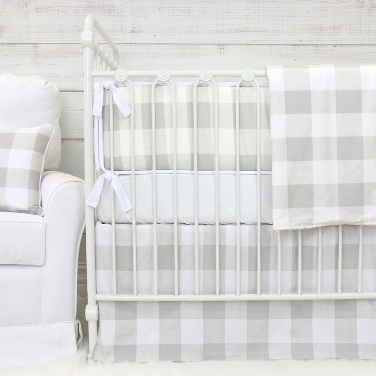 Fletcher's Farmhouse Light Gray Plaid Crib Bedding