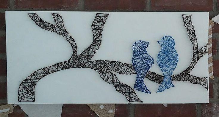 Love Birds on a Branch String Art