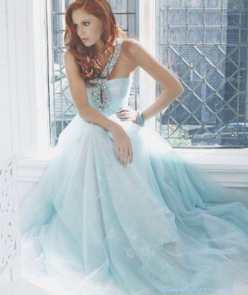 redhead evening gown