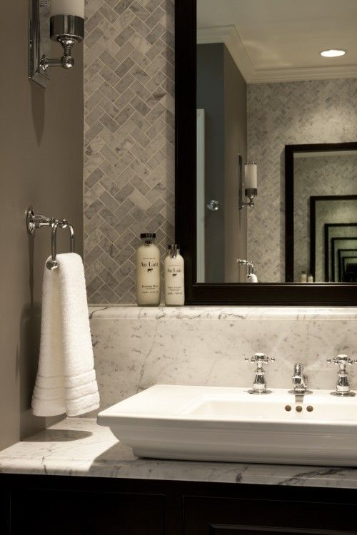 Sink is by kohler style memoirs tile is bianco carrara for Small bathroom herringbone tile