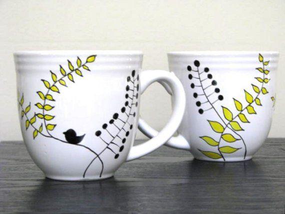 Hand Painted Mugs- Modern Leaf Design via Etsy