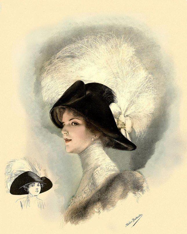 Днем рождения, открытки дамы в шляпах
