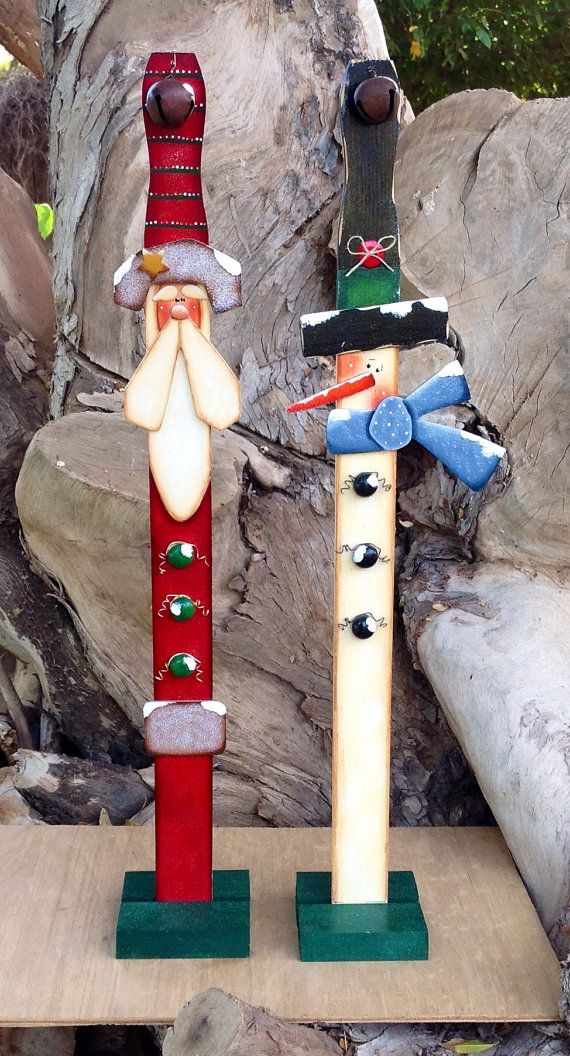 Santa and Snowman Paint Stick Decorations von CountryCharmers