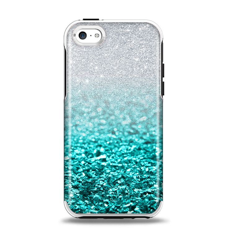 The Tiffany Blue & Silver Glimmer Fade Apple iPhone 5c Otterbox Symmetry Case Skin Set