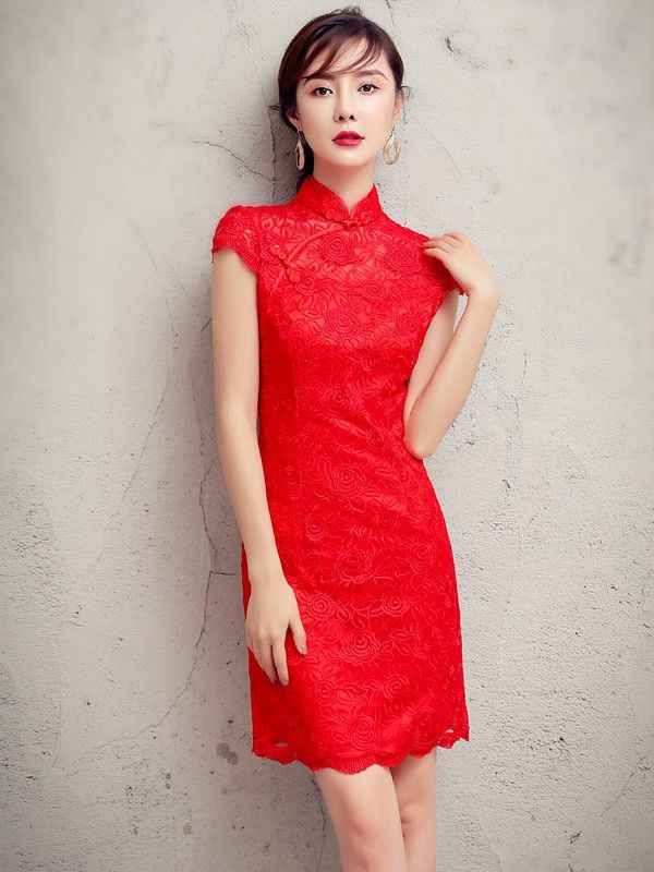 Outstanding Love Forever Red Lace Qipao / Cheongsam Wedding Dress