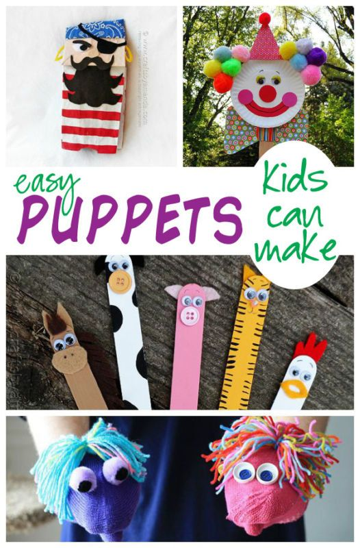 Creating puppets and putting on a show with them is the ultimate kid activity for the summer. Help get your kids started making one of these easy puppets and sit back and watch them entertain themselves making up stories and acting them out.