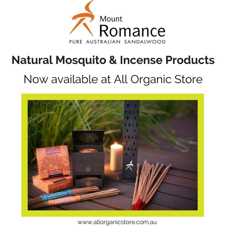 Enjoy the great outdoors with Mt Romance Pure Australian Sandalwood.  Sandalwood Coils & Incense Sticks are now available as well as the Coil & Incense Diffusers. www.allorganicstore.com.au.