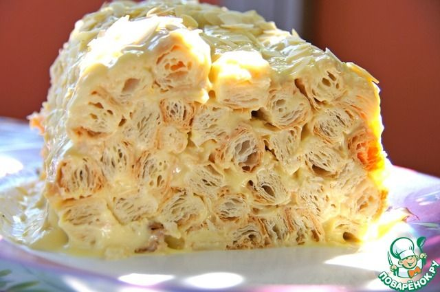 Миндальное полено из слоеного теста - кулинарный рецепт