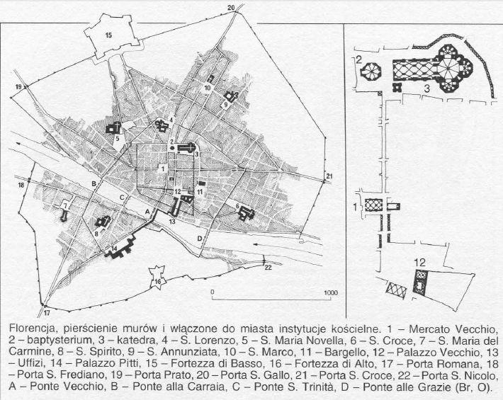 ŚREDNIOWIECZE PÓŹNE. Państwo-miasto Florencja, Włochy.  Źrodło: W. Koch, Style w Architekturze, s. 400.