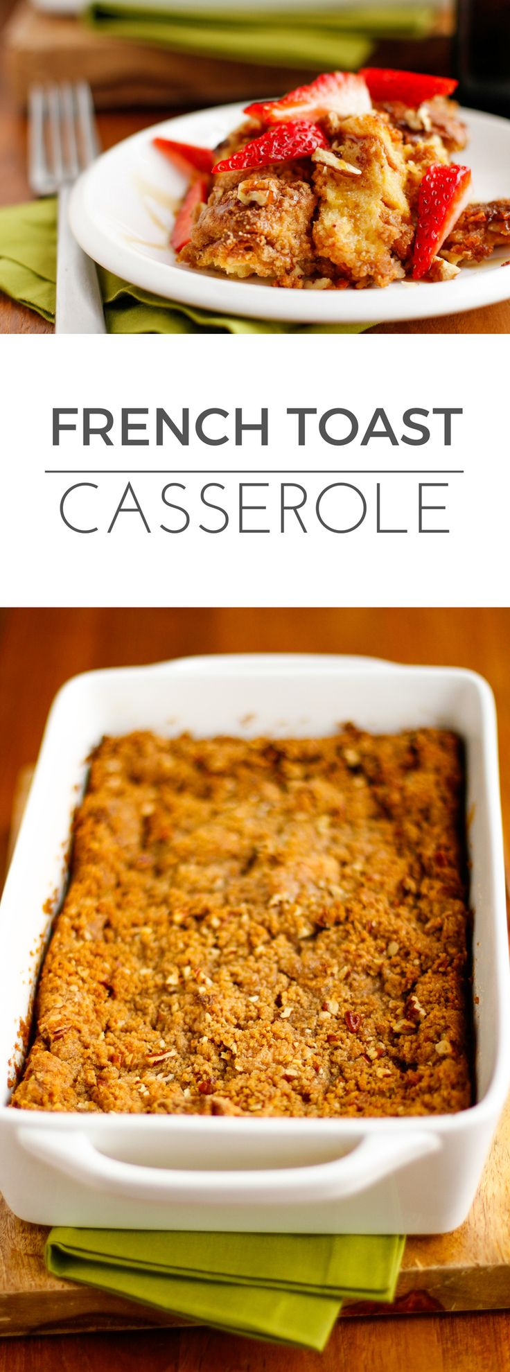 Easy French Toast Casserole -- a flavorful French toast casserole that doesn't require overnight refrigeration, topped with a delicious crunchy, caramelized cinnamon-pecan topping. Breakfast perfection! | via @unsophisticook on unsophisticook.com