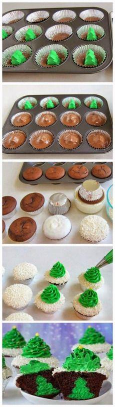 Cheesecake Stuffed Christmas Tree Cupcakes ~ love this idea!