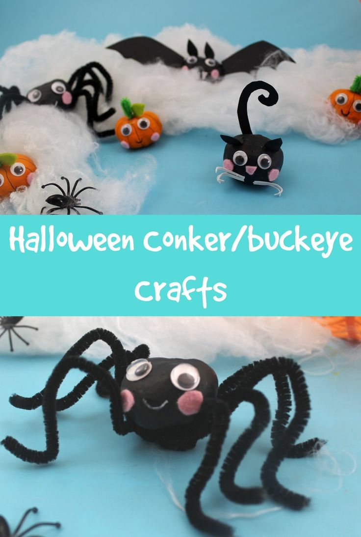 How to make cute Halloween themed conker/buckeye/horse chestnut craft