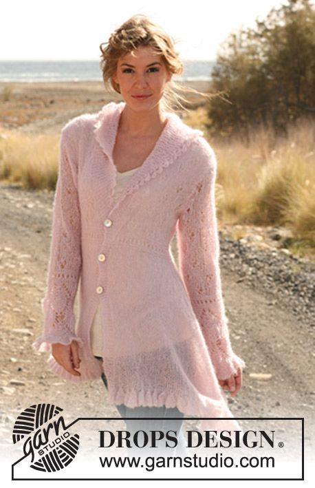 "Knitted DROPS asymmetric jacket with bell edge and lace pattern in ""Vivaldi"". Size: S - XXXL. ~ DROPS Design"