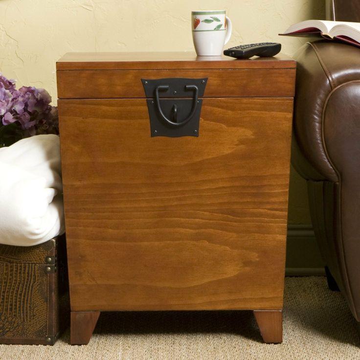 FurnitureMaxx Oak Pyramid Trunk End Table : End Tables