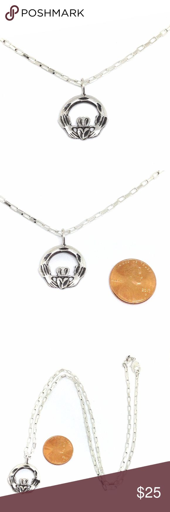 """*SALE* Necklace Claddagh Pendant Sterling Silver Lovely!! Claddagh pendant with long box chain necklace, all in sterling silver. Pendant is approx 1"""" tall with bail. 3/4"""" wide. 1.2mm thick. Stamped '925'. Weight 2 grams. Sterling silver 2mm wide long box chain, 20"""" length. Stamped '925'. Mint condition. The Claddagh is an Irish symbol for love (heart), loyalty (crown) and friendship (hands). Perfect on its own or layered with other necklaces. Sweet! Vintage Jewelry Necklaces"""