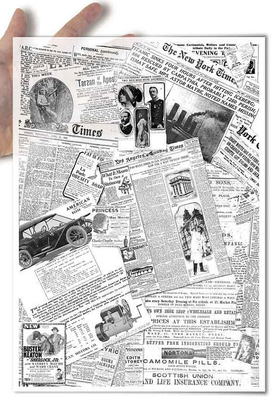 Decoupage paper with a newspaper design: A collage of old, historical newspaper…                                                                                                                                                                                 Mehr