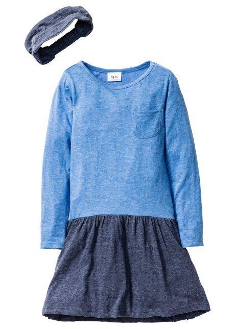 Платье в стиле деним + лента для волос (2 изд.), bpc bonprix collection, синий меланж