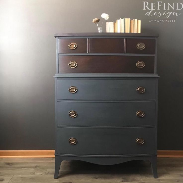 """I am completely in LOVE! This piece features a stunning top and drawer fronts stained in General Finishes Java Gel Stain and paired with Annie Sloan's Graphite. And who could ignore those lovely lined drawers?"" - ReFind Design by Coco Clare  You can recreate this pale blue color by mixing 1 part Coastal Blue Milk Paint and 4 parts Persian Blue Milk Paint. Want more inspiration? Go to the General Finishes Color Mixing Lab for more custom colors at http://bit.ly/2kgYOK4"