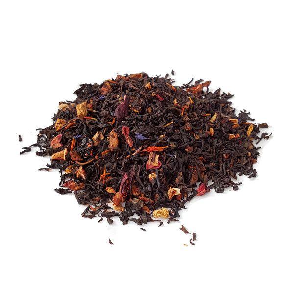 A Ceylon Black Tea Blended With Orange Peel, Blackcurrant, Peach, & Raspberry garnished with Sunflower Petals.