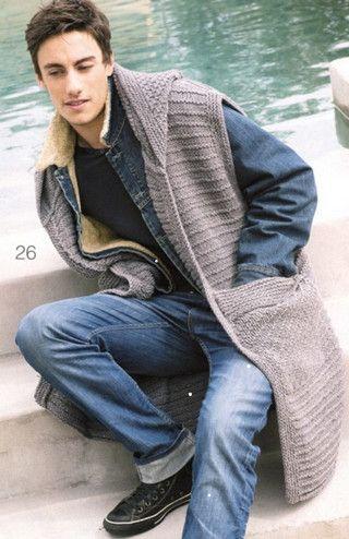 Мужской длинный жилет с капюшоном, вязаный спицами