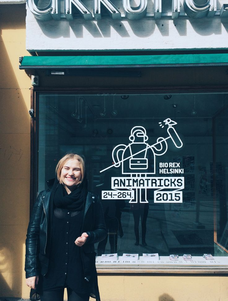 Animatricks 2015 window decal and Ida Immonen, the happy producer of this year's festival.
