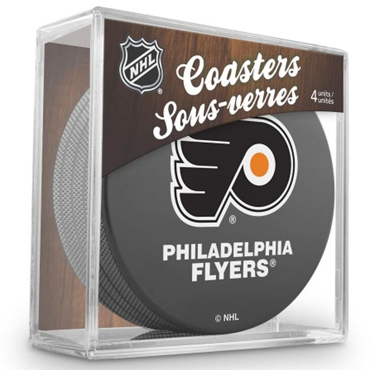 "Philadelphia Flyers hockey puck coaster set - 4 different. These great looking coasters are made of an actual puck - the four stacked are approximately the size of one hockey puck and are 3"" in diamet"