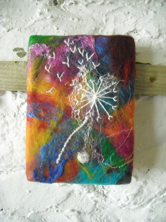 wet felted fiber art, abstract art, stitched dandelion on felt