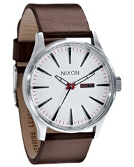 NIXON SENTRY LEATHER WATCH - WHITE on http://www.surfstitch.com