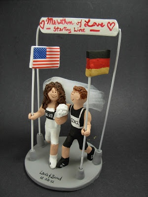 American Bride Marries German Groom Wedding Cake Topper | custom wedding cake toppers #wedding #cake #toppers  #custom #personalized #Groom #bride #anniversary #birthday#wedding_cake_toppers#cake_toppers#figurine#gift#marathon#runners#joggers$235#germany