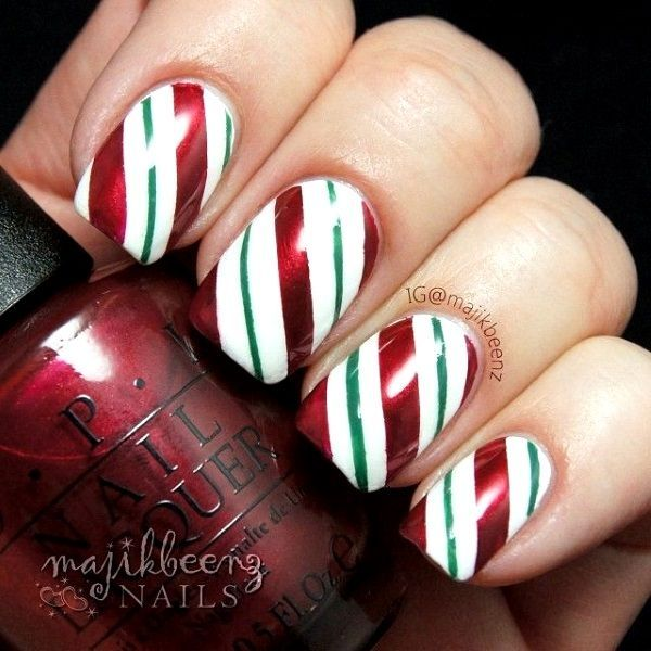 Peppermint Christmas Nail Art Designs