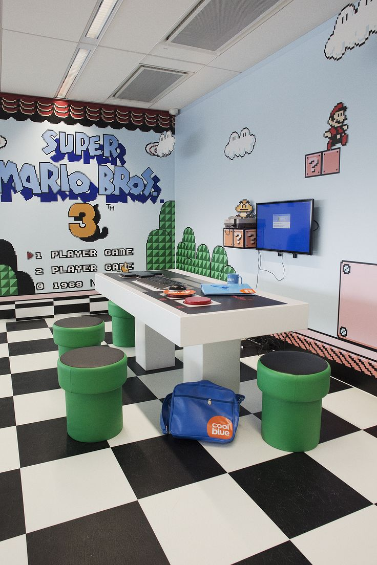 Super Mario 3 themed conference room at Coolblue HQ offices in the Netherlands - idea for #brazencareerist office makeover :)