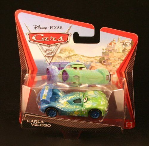 Disney / Pixar CARS 2 Movie 155 Die Cast Checkout Lane Package Carla Veloso by Mattel Toys. $12.49. From Mattel. CARLA VELOSO * CARS 2 * Disney / Pixar 1:55 Scale 2010 Die-Cast Vehicle. Originally released in 2010.. 1:55 Scale Die Cast Vehicle - Vehicle Measures Approximately 3 Inches Long. Ages 3 and up.. CARLA VELOSO * CARS 2 * Disney / Pixar 1:55 Scale 2010 Die-Cast Vehicle. Ages 3 and up. From Mattel. Carla hails from Rio de Janeiro, Brazil where she's been known to da...