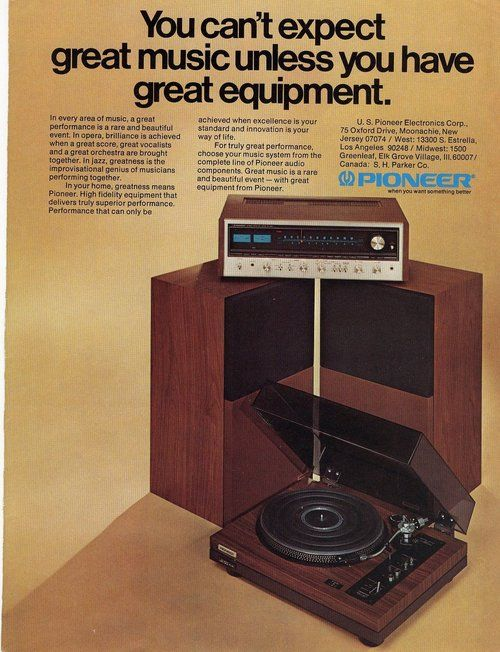 Pioneer Stereo Advertisement, 1974.