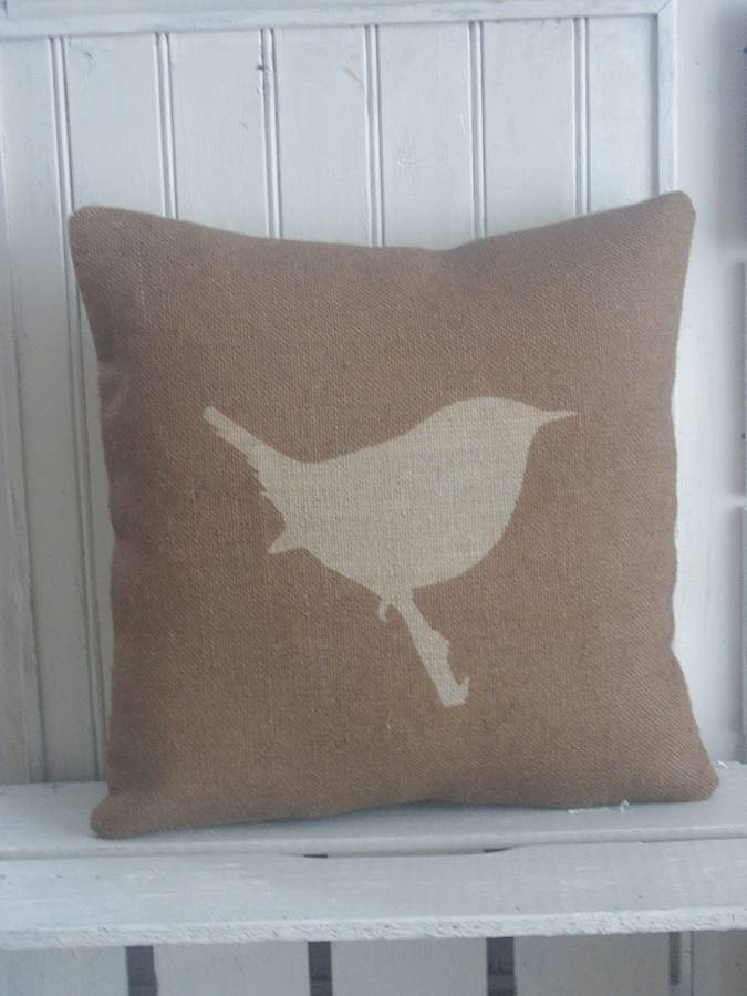 Jenny Wren Printed Hessian Cushion