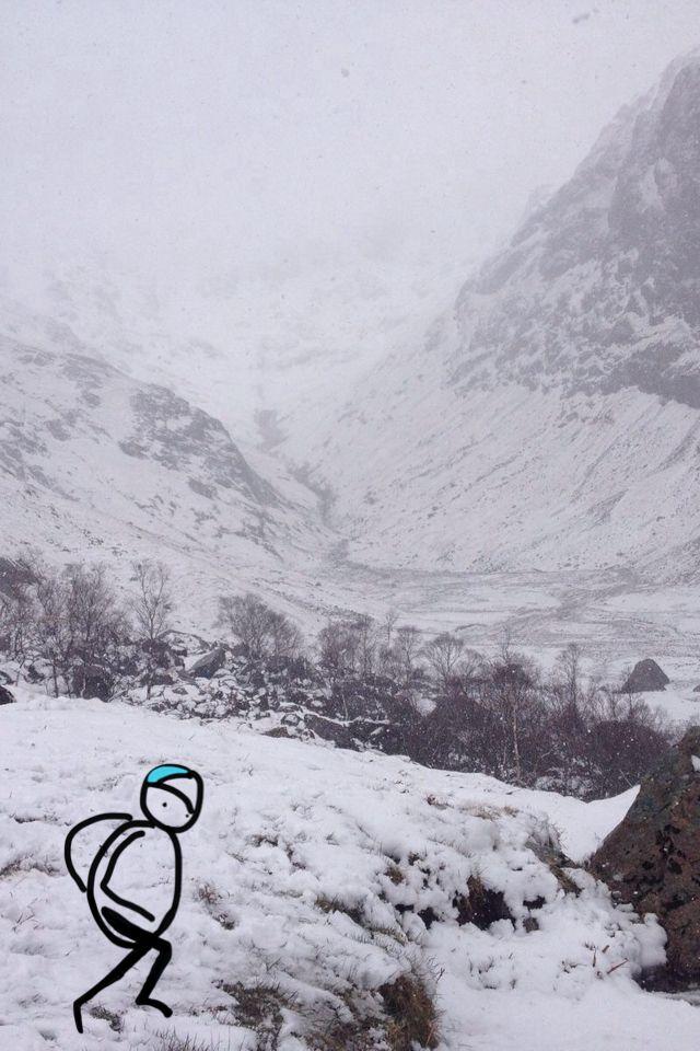 Walking Glencoe Lost Valley in snow, a tale in the making | www.lotjemeijknecht.nl #glencoe #lostvalley #hillwalking #hobbit #illustration #scotland #landscape