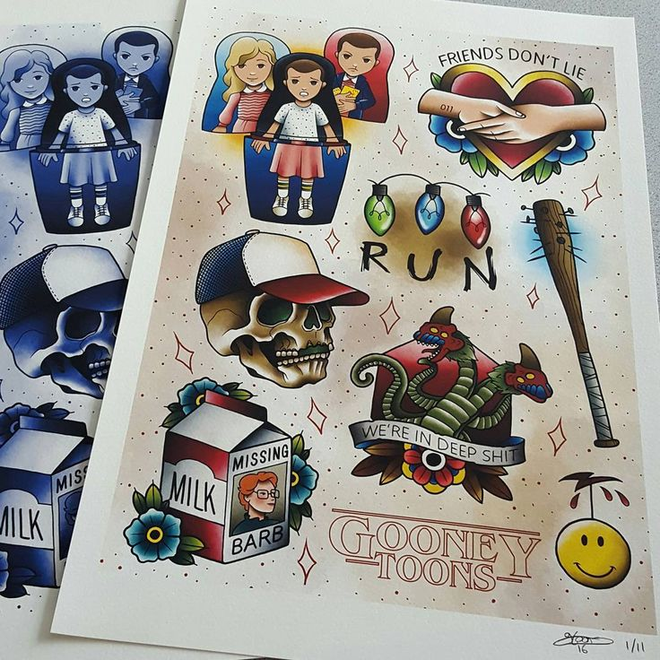 """New Stranger Things Flash sheets are up for pre order now on gooneytoons.bigcartel.com. There are regular and The Upside down variants and each is limited to 11 copies only, these will not be reprinted(please leave a note in your order if you would like a linework sheet for tattooing). They are printed on 320gsm 100% cotton fine art paper and are 13x19"""". This weekend there is also free shipping on orders over $100, just enter the promo code FREESHIPPING on checkout. Link to bigcartel in my…"""