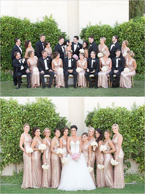 rose gold glitter bridesmaid dresses / http://www.himisspuff.com/rose-gold-metallic-wedding-color-ideas/5/