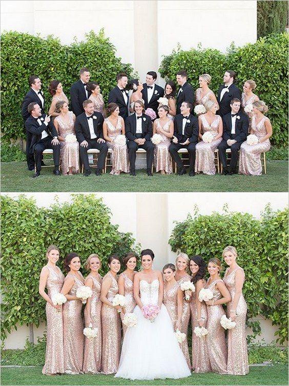 rose gold glitter bridesmaid dresses / http://www.himisspuff.com/rose-gold-metallic-wedding-color-ideas/5/