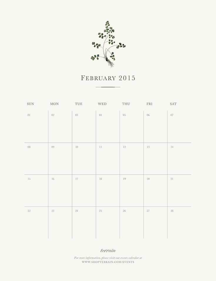 Our printable February calendar.