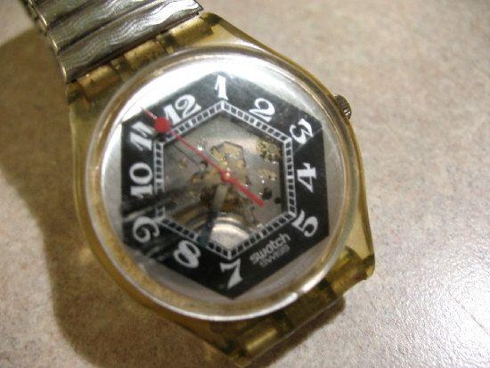 Vintage Swatch Watch BLACK JADE L gk 1993 Skeleton by Vintageisnow