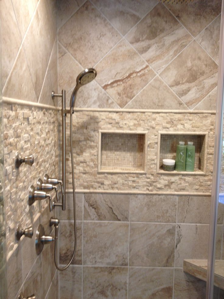 Mikonos Coral Sand Porcelain Tiles Installed In A Shower With Stone Accents Decor Ideas